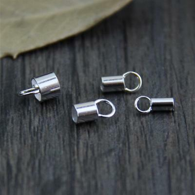 4PCS 925 Sterling Silver Tube Leather Cord End Clasp DIY A2537