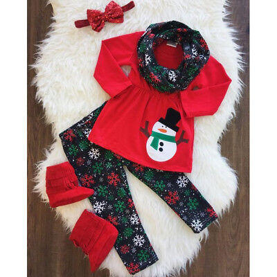 US Seller Kids Baby Girl Xmas Outfits Clothes Snowman Tops Skirt+Pants+Scarf Set