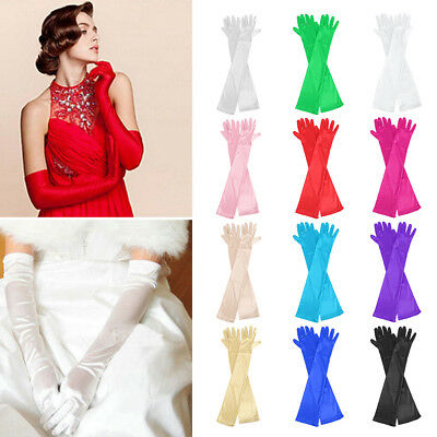 "Women's Evening Party Formal Gloves  22"" Long Black White Satin Finger Mittens"
