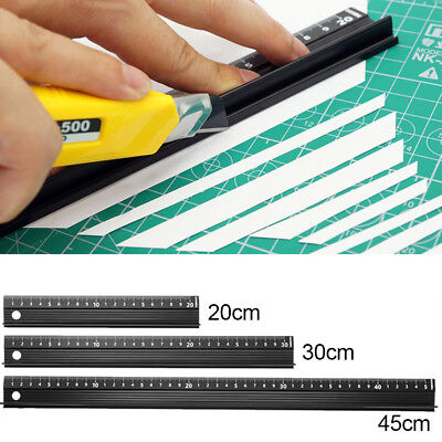 Aluminum Alloy Black Straight Ruler Precision Scale School Office Stationery
