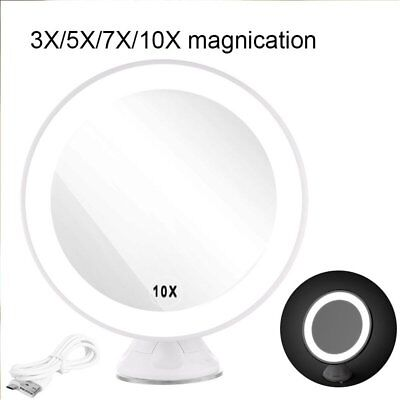 Magnifying Lighted Vanity Makeup Shave Bathroom Mirror + USB LED 360° Rotation