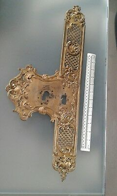 Victorian Gilt Brass Door Handle Finger Plate Rococo French Chateaux stamped CA