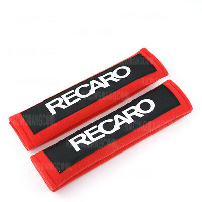 2pcs JDM Red Seat Belt Cover Shoulder Pads with Recaro Embroidery Racing Logo