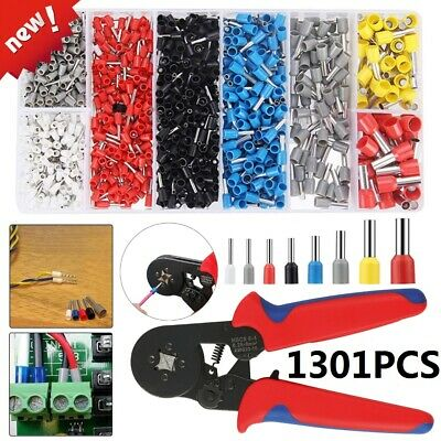 1301Pcs Electrical Wire Terminals Assortment Set Insulated Crimp Connector Spade