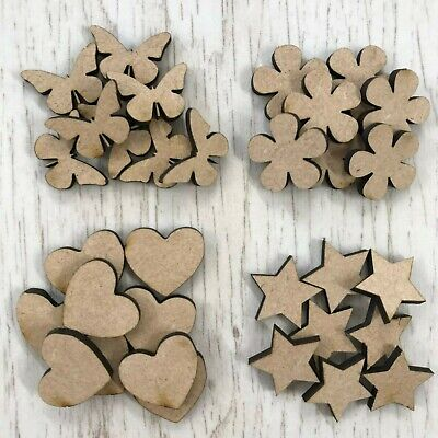 MDF Wooden Stars Hearts Circles Butterflies Triangles Various Sizes & Quantities