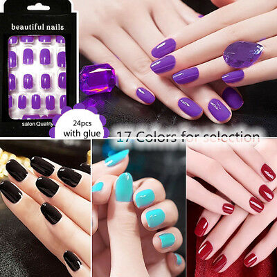 1Set Fake Nails Acrylic Nail Art Glue MakeUp Gel Foils Decals Artificial Colour