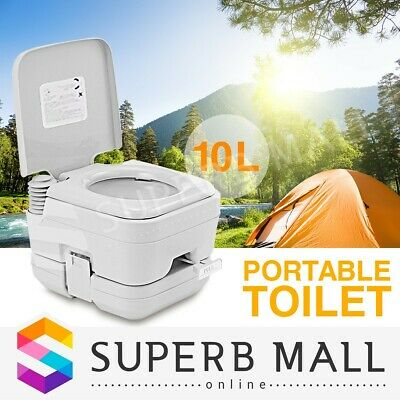 10L Portable Toilet Travel Outdoor Caravan Camping Boating Potty 50 Flushes Gray