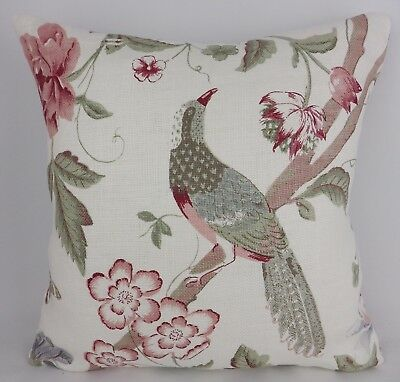 Shabby Chic Pink Grey Grey Bird Floral Linen Fabric Cushion Cover Scatter