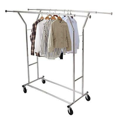 Double-bar Heavy Duty Rail Clothes Hanger Rolling Rack Scalable Space Saving