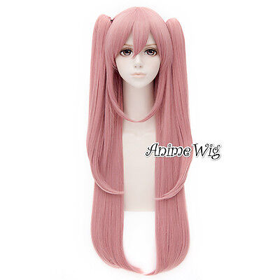 Seraph of the End Krul Tepes Cosplay Perücke Rosa 80cm Beauty + 2 Zopf Anime Wig
