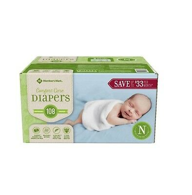 Member's Mark Comfort Care Baby Diapers, Newborn Up to 10 lbs. (108 ct.) NEW