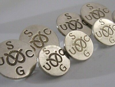 Rare 8 Solid Silver Golfing Buttons 1958 Staffordshire Union Golf Clubs 1958