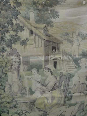 Antique French Tapestry, Country Scene, Mother and Child
