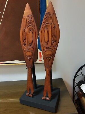 Northwest Coast Dance Paddles, a pair, well detailed carved cedar MAKE AN OFFER!