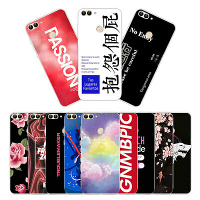 Soft TPU Silicone Case For Huawei P Smart Phone Back Cover Skins Enjoy 7S Words