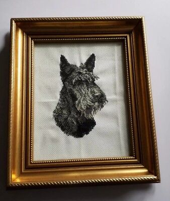 Vintage Style Framed Cross Stitch Picture Scottish Terrier Wall 35x 29.5cm