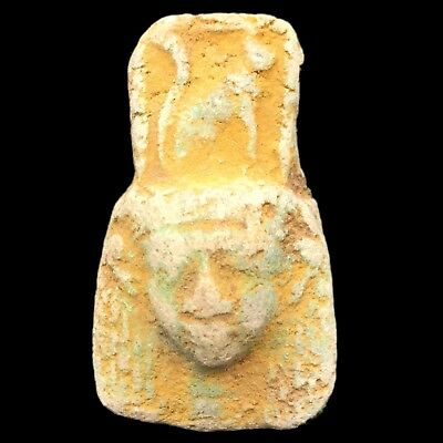 Beautiful Ancient Egyptian Amulet Of The Goddes Hathor 300 Bc