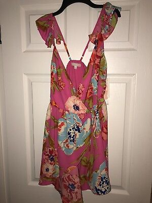 daa9af4590f NWT~GIANNI BINI~PINK FLUTTER Floral Mini WRAP DRESS~SIZE S -  24.00 ...