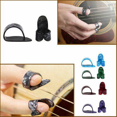 2Pcs/Set Plastic Nail Picks 1 Thumb Pick + 1 Finger Pick Plectrums for Guitar
