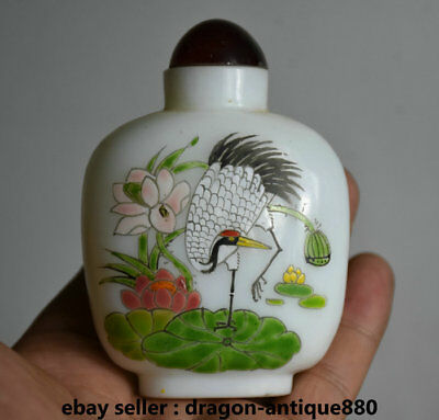 9CM Old Chinese coloured glaze Dynasty Lotus Crane Bird Snuff Bottle Snuff Box