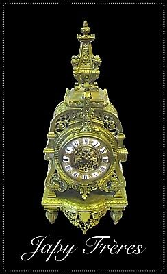 19th Century 8 Day Gong Striking Pierced Cast Brass Mantle Clock by Japy Frères