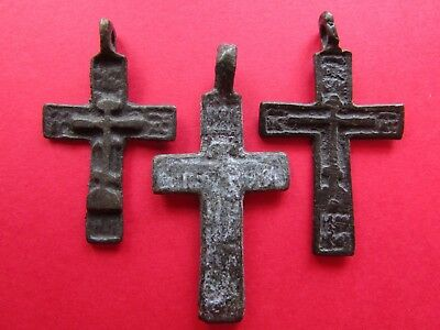 Ancient Russian Bronze Cross! XVII-XVIII Century! Set 3 pieces! (D114)