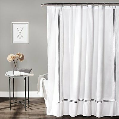 """White/Gray Lush Decor Hotel Collection Shower Curtain, 72"""" by 72"""", Cucina (rme)"""