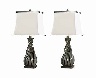 Kings Brand Grain Gray With White Fabric Shade Table Lamps, Set of 2