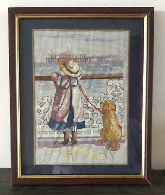 Cross-stitch tapestry of Edwardian girl & dog at the seaside FREE P&P REDUCED