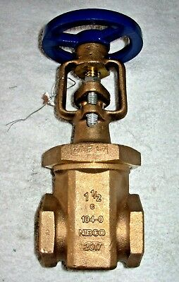 """1 1/2"""" Nibco Fire Main Gate Valve New Bronze Os&y Rising Stem 175 Cwp # T104-0"""