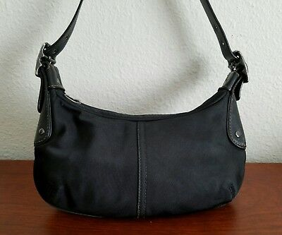 Authentic Coach Black Nylon Hobo Small Shoulder Bag w/ Leather Trimming A3K-6671