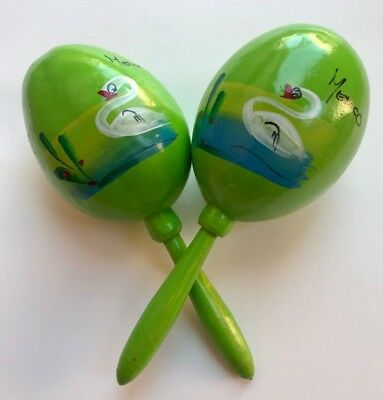 Handmade Mexican from Mexico Maracas Shakers Green Music Percussion Swans Qty 2