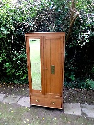 * Vintage Honey Coloured Beechwood  Wardrobe with Mirror **