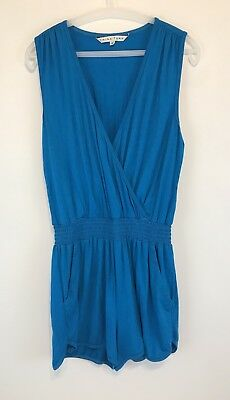 Trina Turk Womens Romper Size 8 Blue Solid Sleeveless Jumpsuit Casual Soft