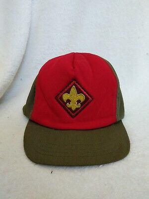 Vintage Youth Boy Scouts Hat Green/red Snapback Size S/m Usa Made Vgc X14