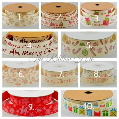 A Selection of Printed Cotton Christmas Ribbons 10 Designs 3 Lengths 2 Widths