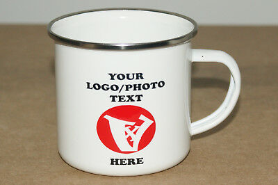 Personalised Enamel Metal Mug Cup, your Photo, Text, logo cofee or tea