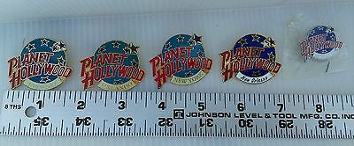 PLANET HOLLYWOOD Globe PINS LOT of 5 collectible Free USA shipping
