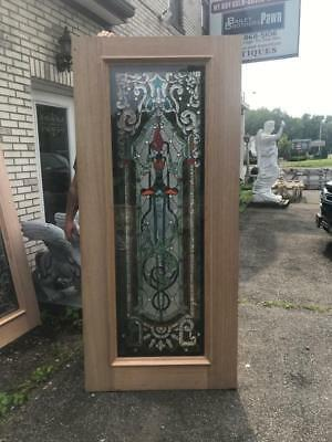 Beautiful Hand Made Cut And Jeweled Stained Glass  Estate Door - Jb22