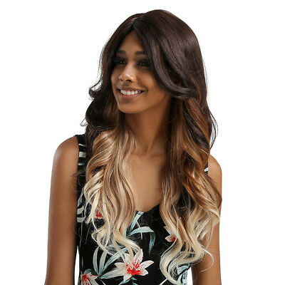 Lady Brown Gradient Beige Women Long Synthetic Wig Curly Wave Front Lace Wig