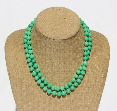 Circa 1920's Chinese Faux Jade / Green Pecking Glass Beads Beaded Necklace