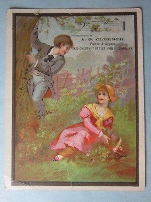 Antique Ad Card 1890s A.G.Clemmer, Piano, Organ, Chestnut St. Philadelphia, PA