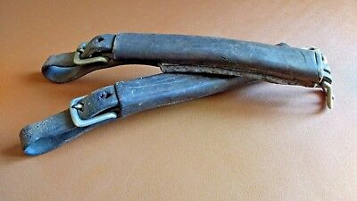 Pair of Antique or Vintage Leather Strap Handles