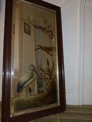 Antique Hand Painted Victorian Mirror in Painted Frame