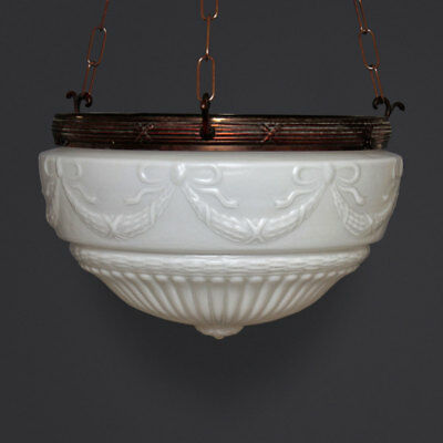 1920s American Satin Opal Glass Lampshade w/ Flutes, Swags & Flower Boss