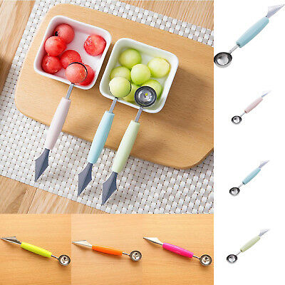 Stainless Steel Carve Spoon Cook Dual Double Melon Baller Ice Cream Scoop Fruit