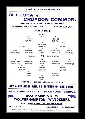 Photograph/7 x 5/Photo/Chelsea/Croydon Common/South East League/1908/Team Sheet