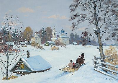 The Old Ladoga Russian Winter Landscape By Alexandrovsky Original Oil Painting 360 00 Picclick