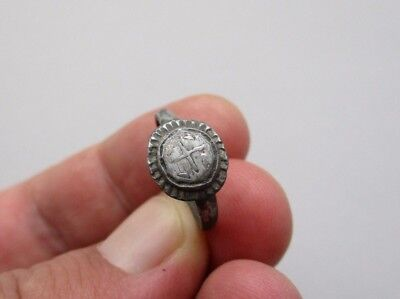 ancient silver crusader period carved ring with inlay cros, circa 12 cenuty A.D.
