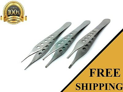 "3 Pcs  Adson Tissue+Brown+Dressing Forceps 4.75"" Finestrated"